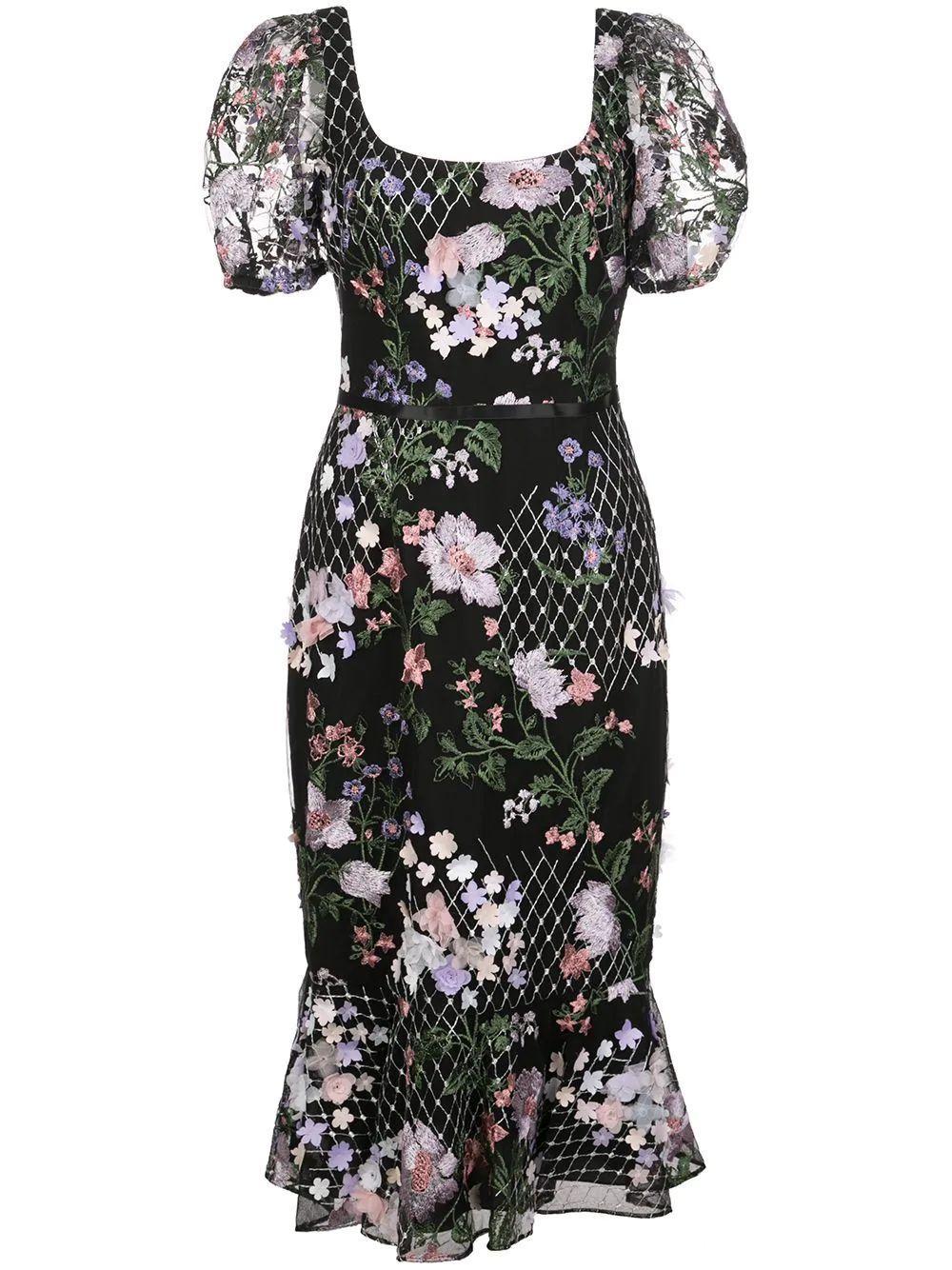 Short Sleeve Embroidered Midi Dress Item # N38C1904