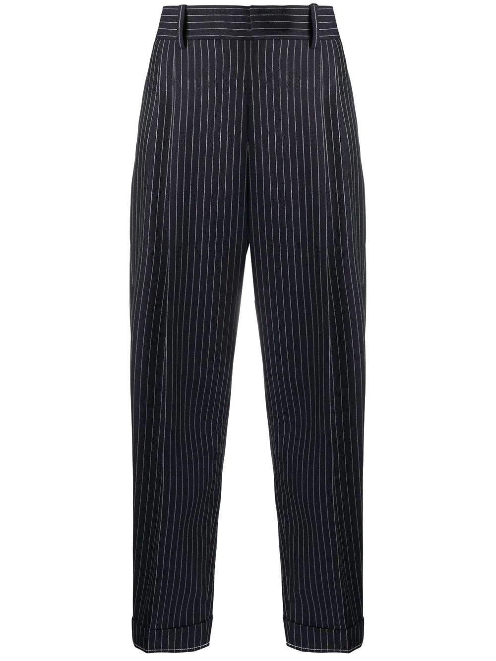 Summer Pinstripe Wool Cuffed Trouser