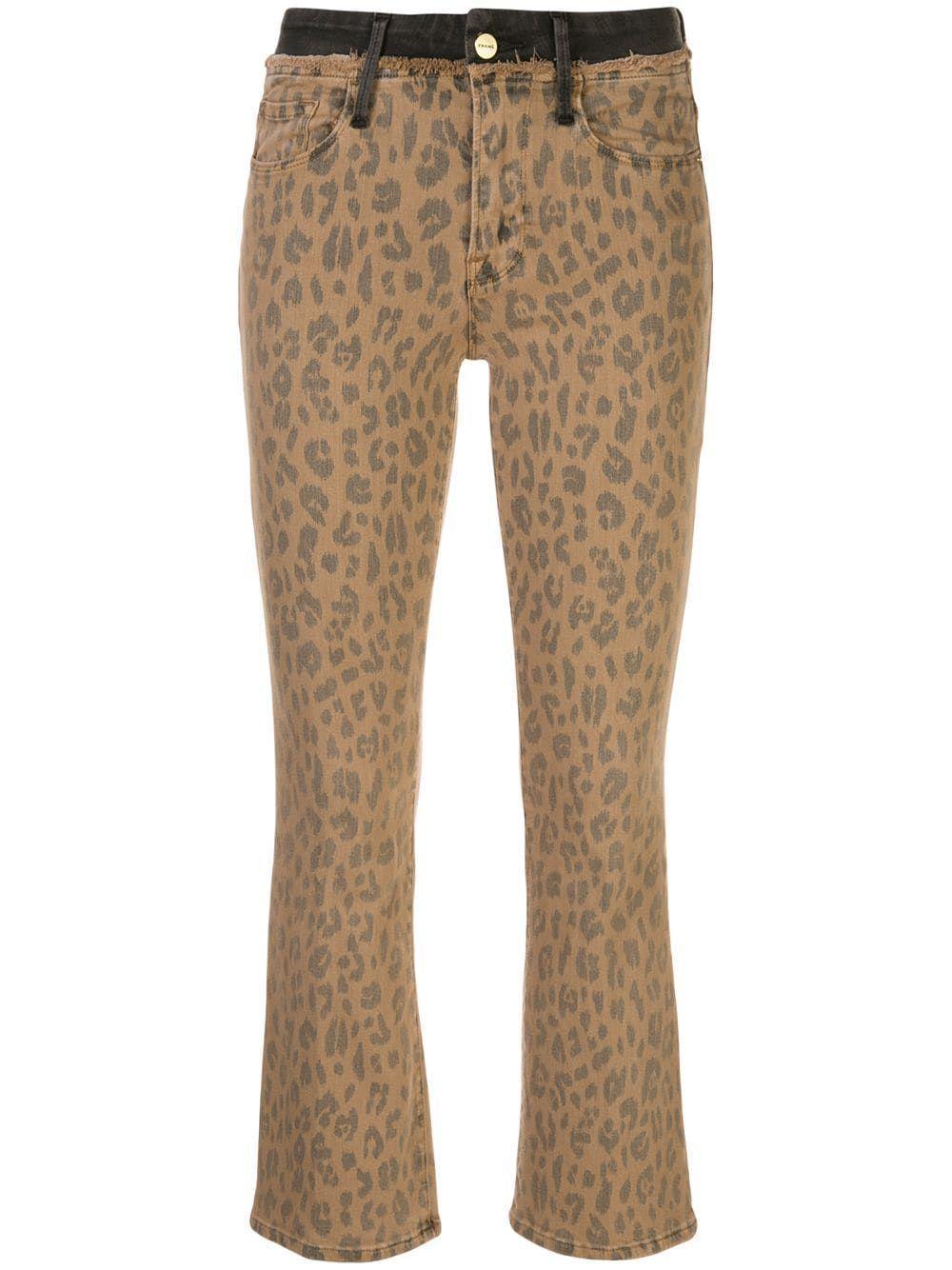 Le Crop Mini Boot Cheetah Jean Item # LCMBFCW403