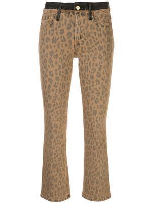 Le Crop Mini Boot Cheetah Jean