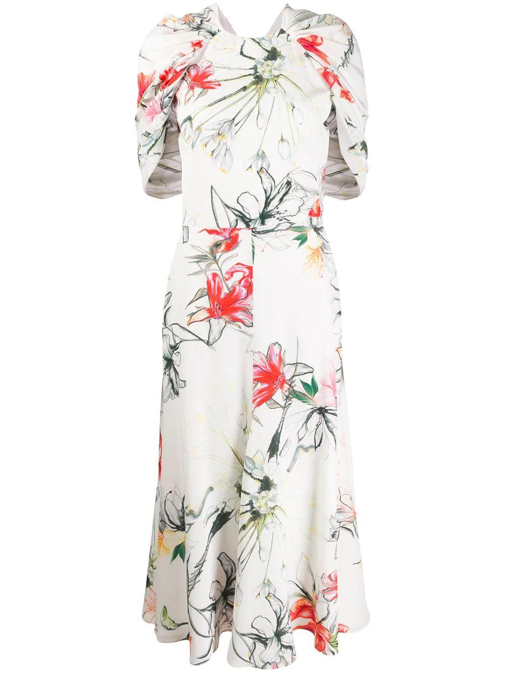 Printed Midi Dress With Drape Capelet Sleve