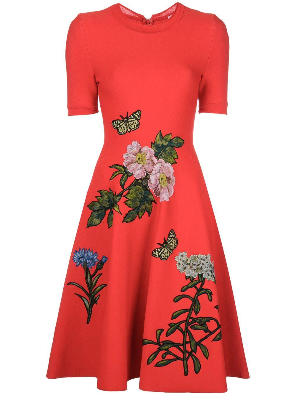 Short Sleeve Knit Floral Fit and Flare Dress