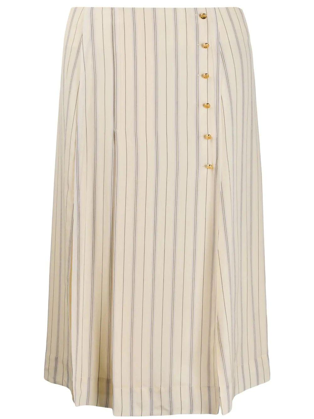 Stripe Print Crepe de Chine Skirt
