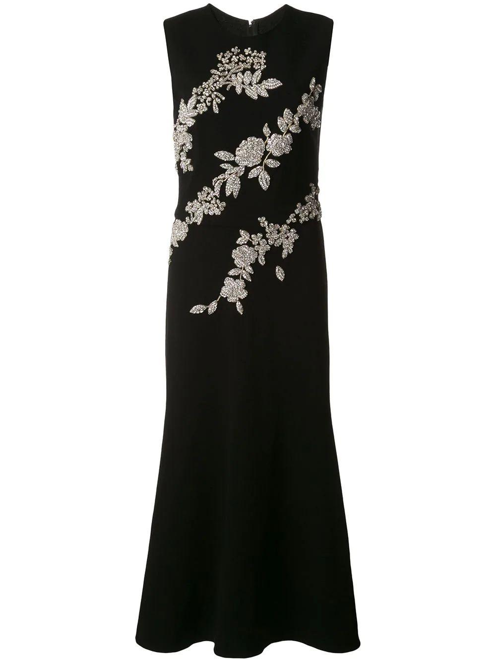 Sleeveless Crystal Embellished Midi Cocktail Dress