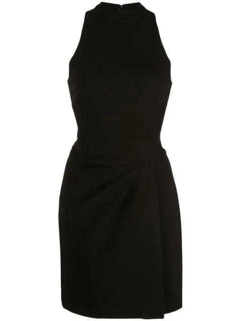 Mock Neck Drape Front Dress