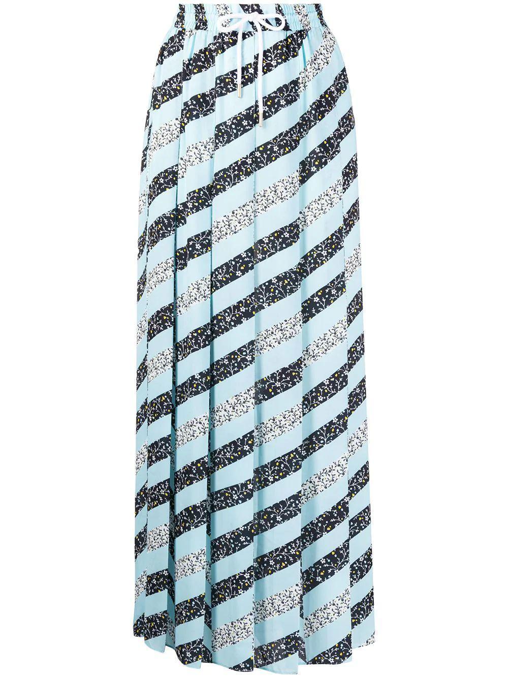Pleated Zig Zag Print Midi Skirt Item # S20700601