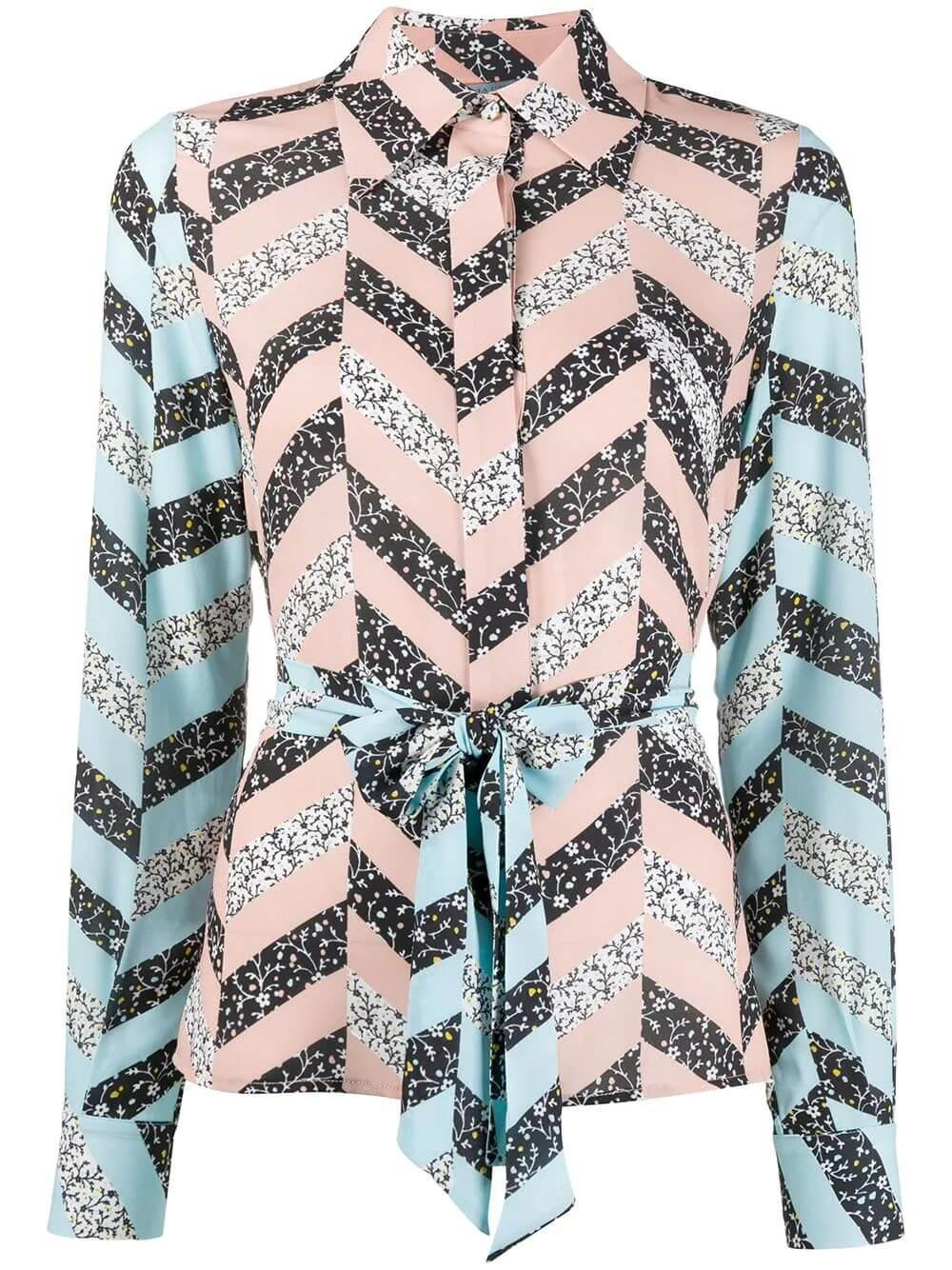 Zig Zag Print Pussy Bow Blouse