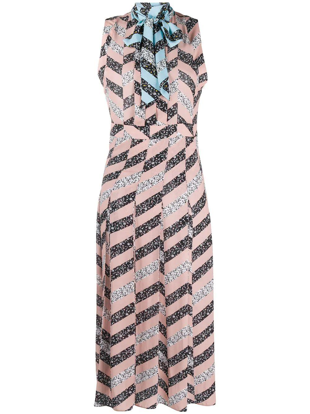 Zig Zag Print Sleeveless Bow Back Maxi
