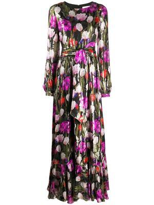 Moon Flower Print Long Dress