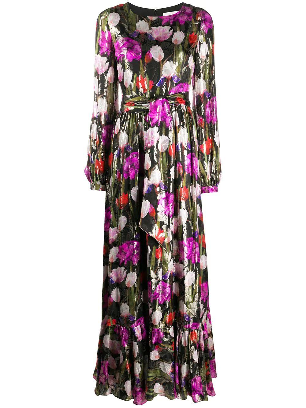 Moon Flower Print Long Dress