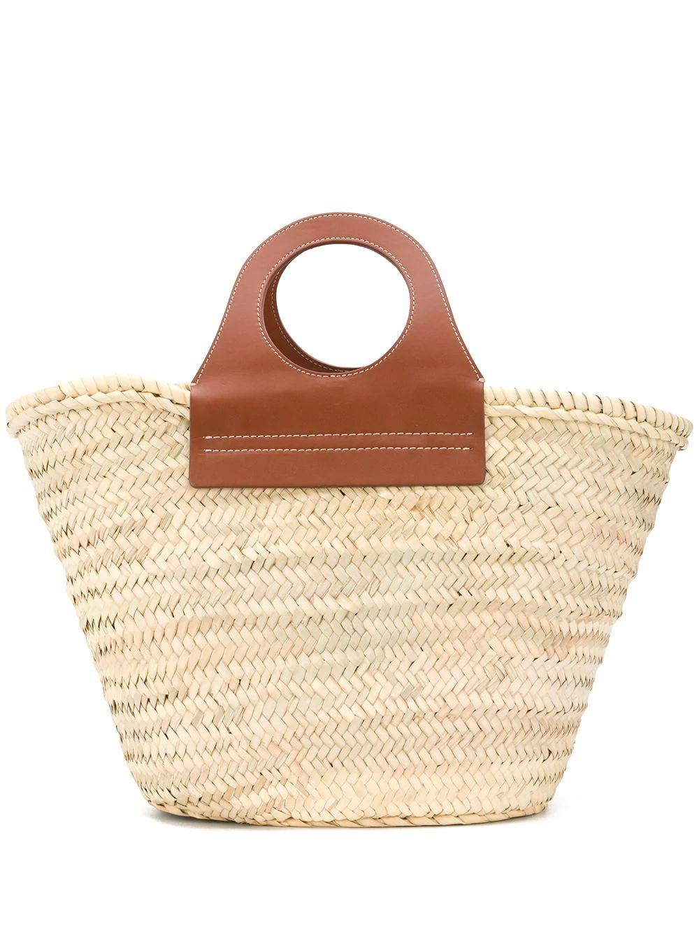 Cabas Straw Tote With Leather