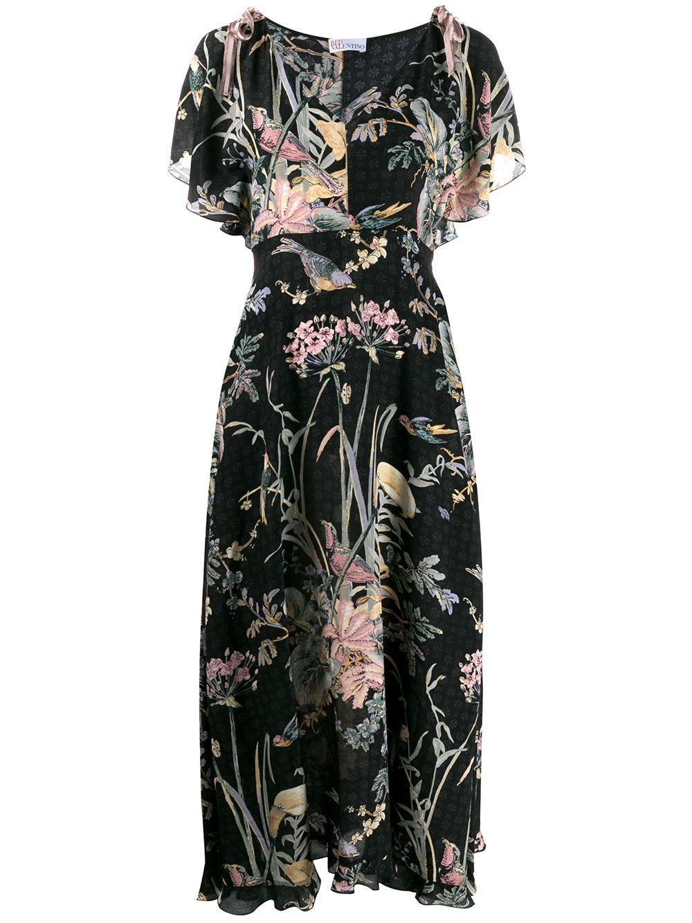 V-Neck Antique Flowers/Birds Printed Dress