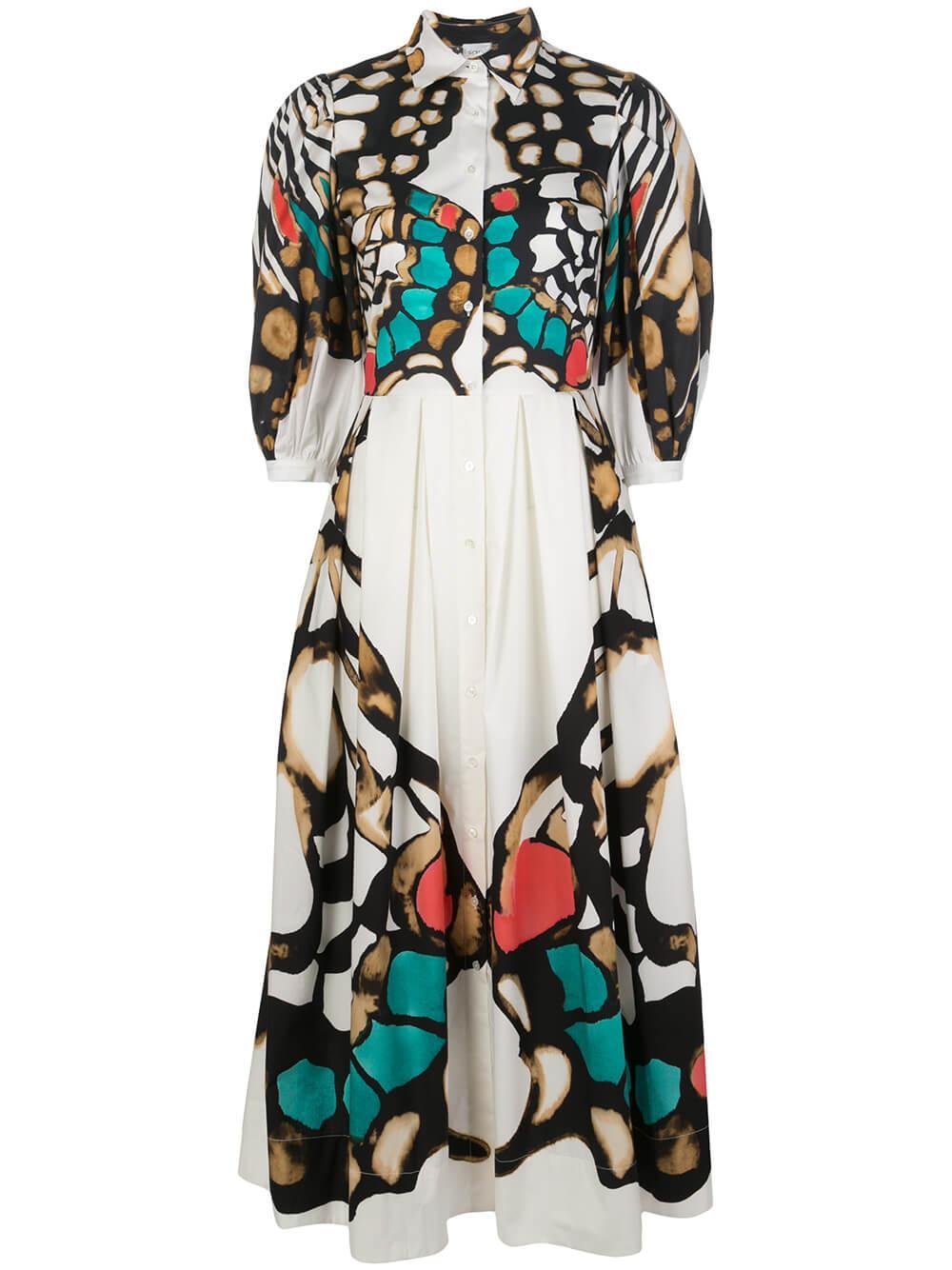 3/4 Sleeve Butterfly Print Maxi Dress