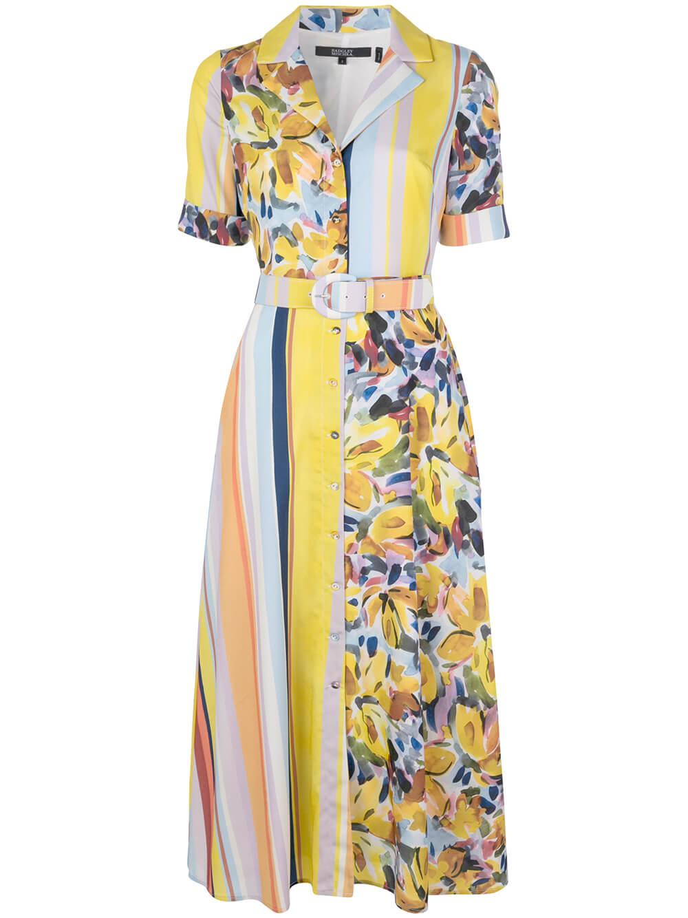 Stripe Floral Combo Belted Midi Dress