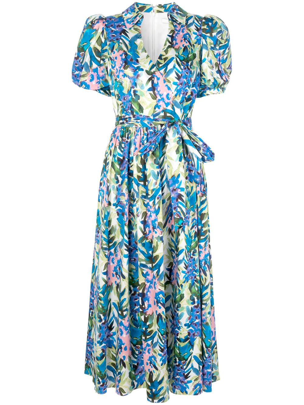 Stripe Floral Puff Sleeve Midi Dress Item # BSD4399