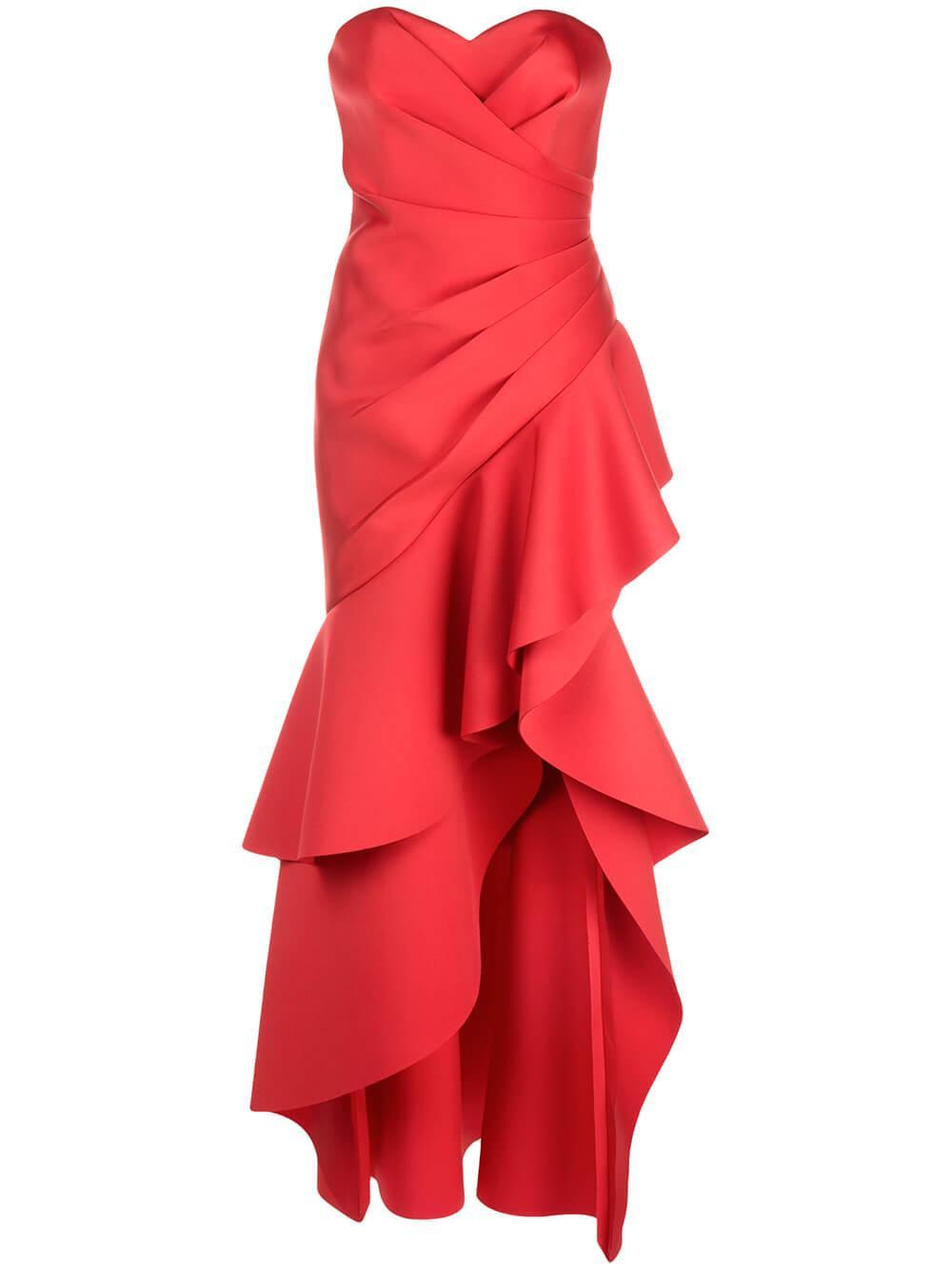 Asymmetrical Ruffle Gown Item # EG2964
