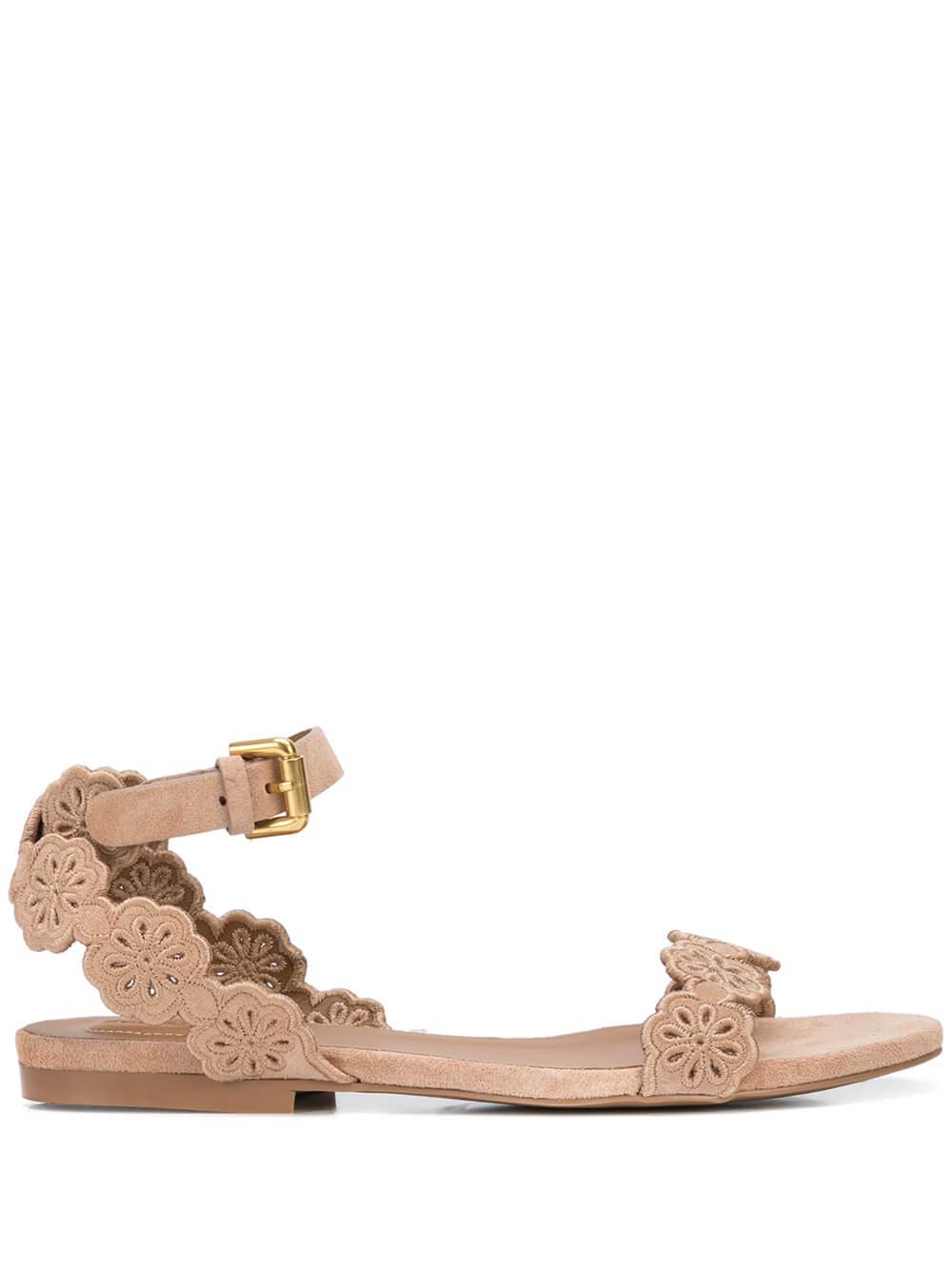Scallop Flower Ankle Strap Sandal