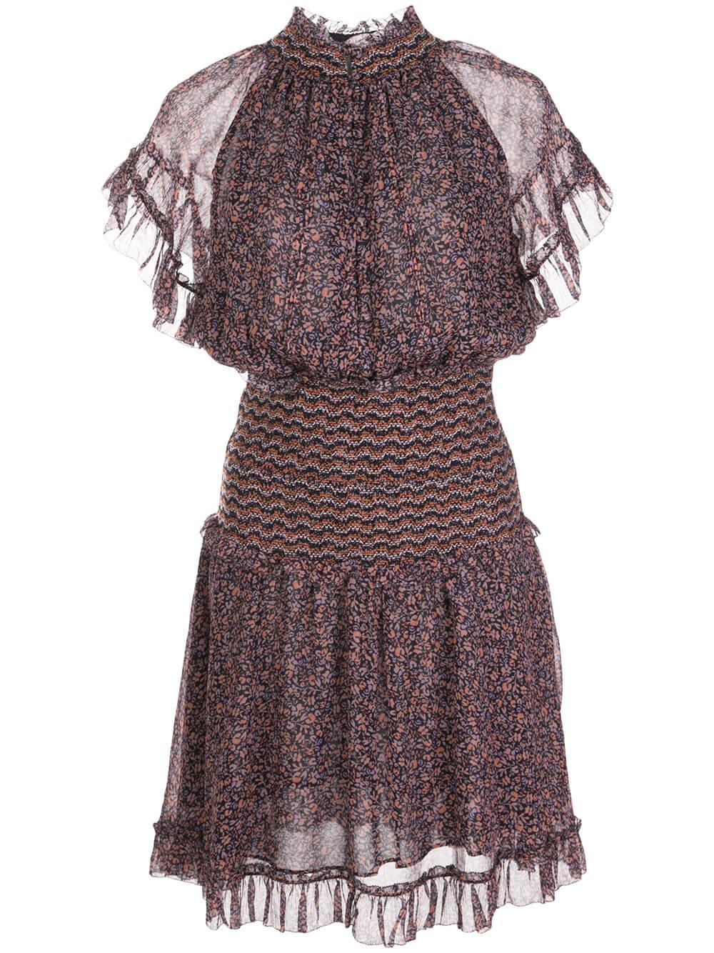 Serena Floral Crinkle Chiffon Dress Item # 220-1033-N