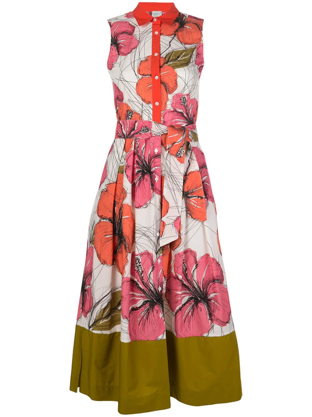 Sleeveless Midi Floral Dress With Olive Item # 8ZAILEE-3-31