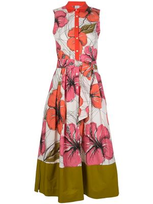 SLEEVELESS MIDI FLORAL DRESS WITH OLIVE
