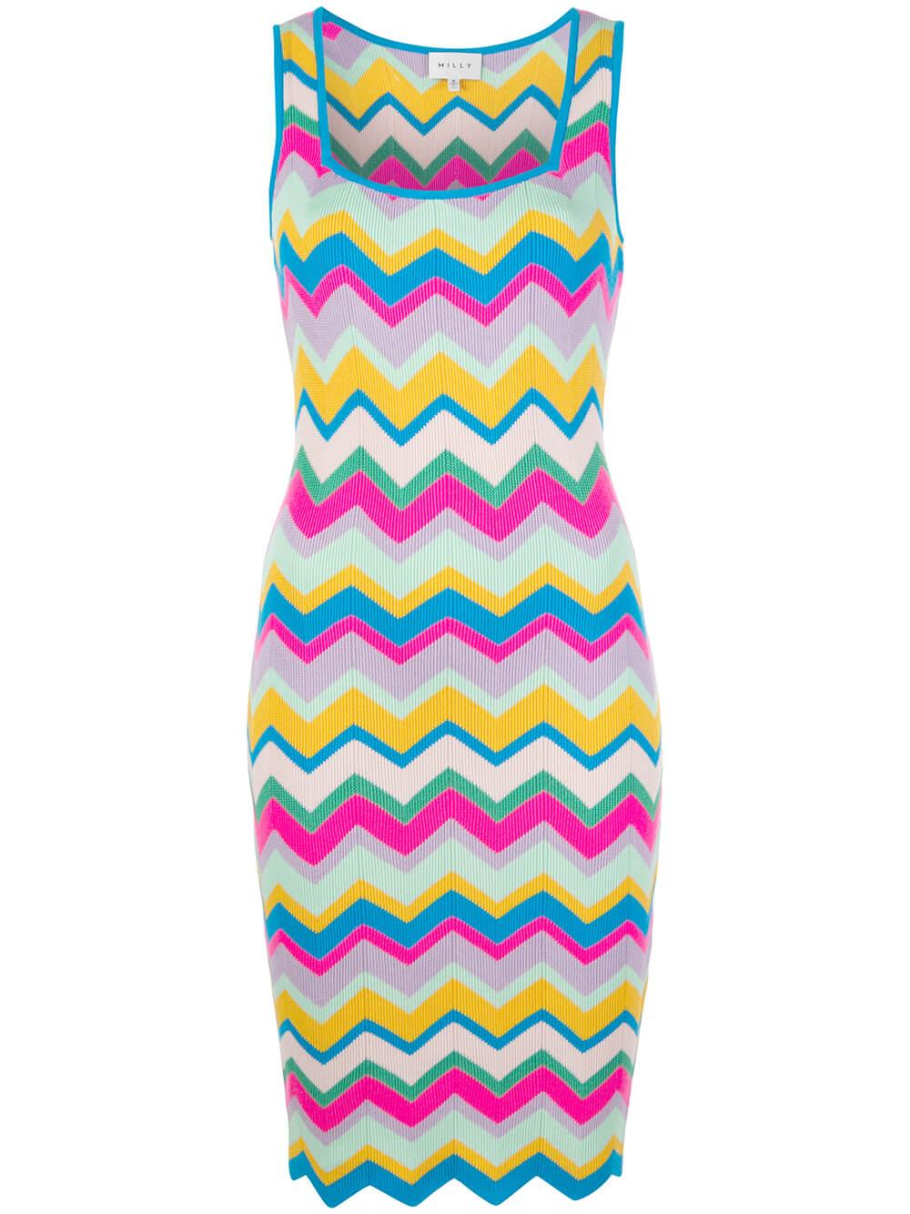 Chevron Stripe Fitted Dress