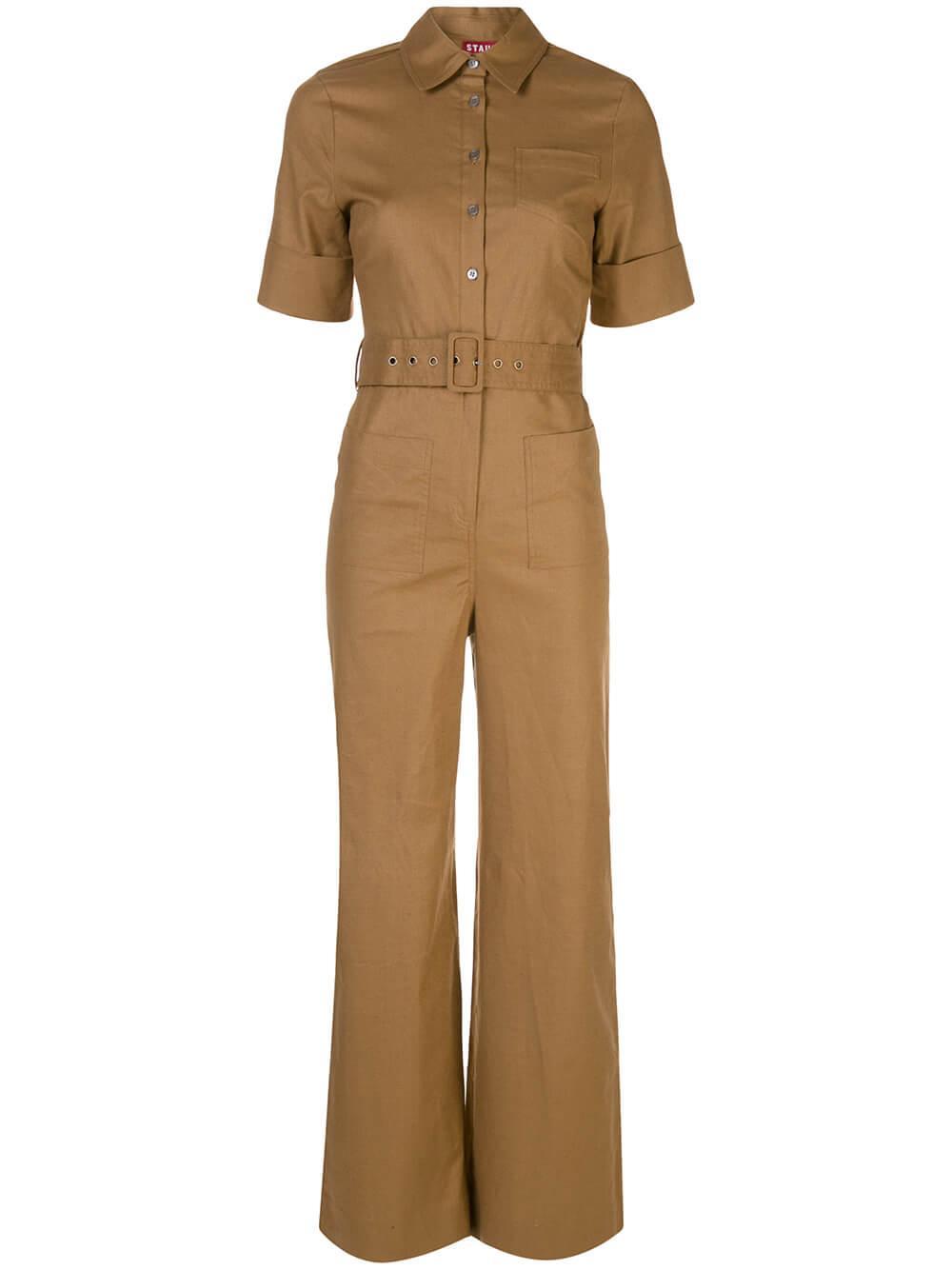 Zavey Short Sleeve Belted Jumpsuit