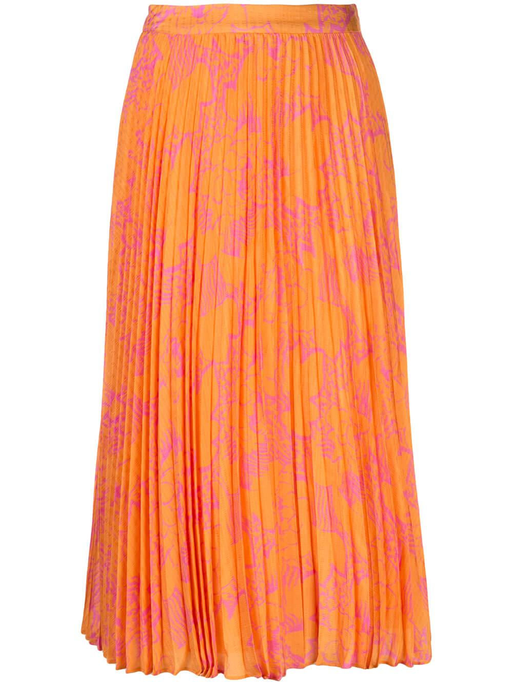 Jeana Pleated Ikat Flower Printed Skirt