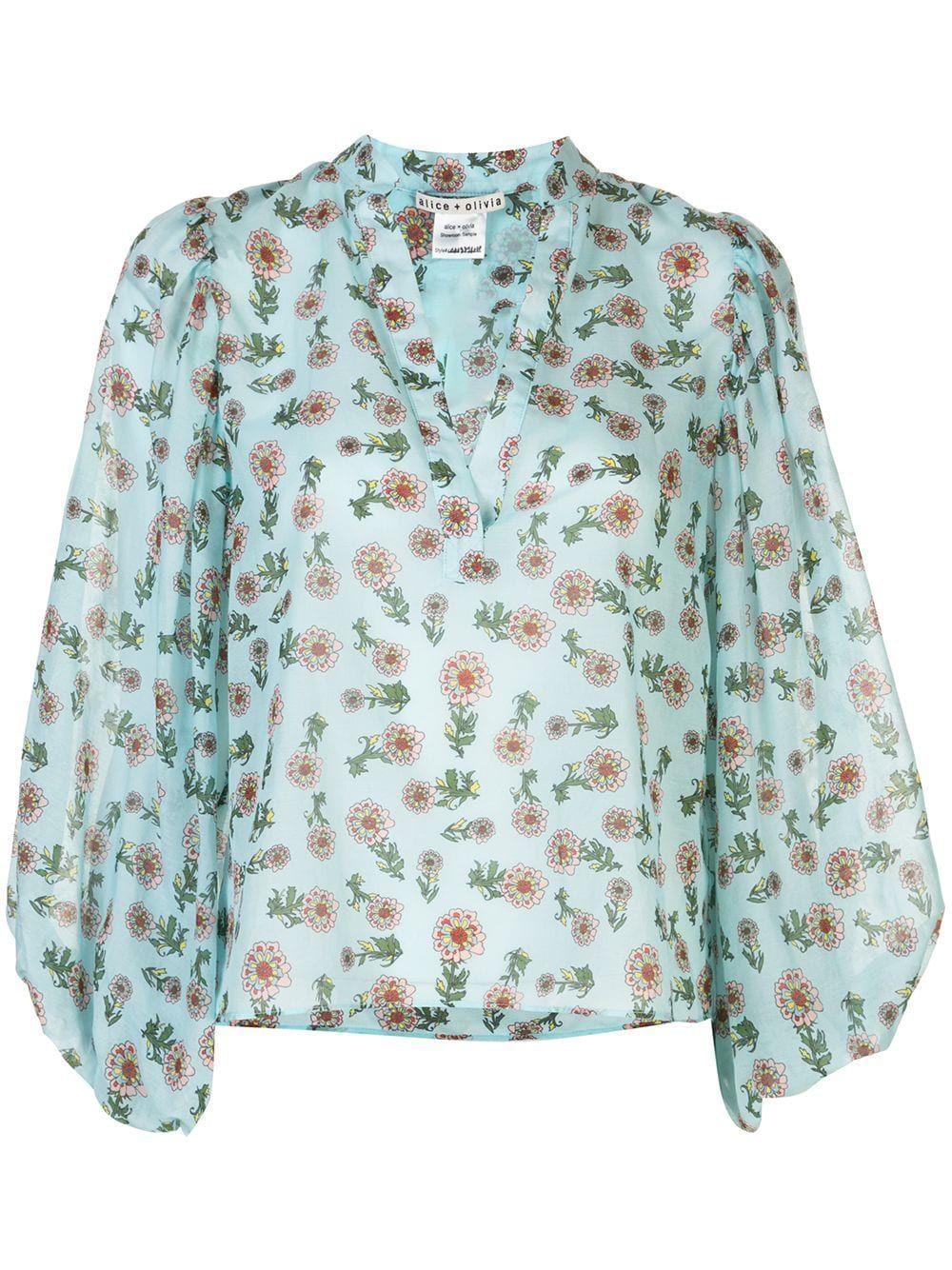 Casey Mandarin Collar Blouse Item # CC003P26049-C
