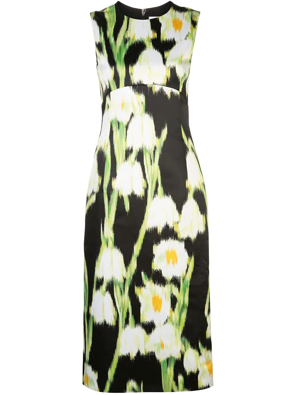 Sleeveless Lilly Of The Valley Crew Neck Midi