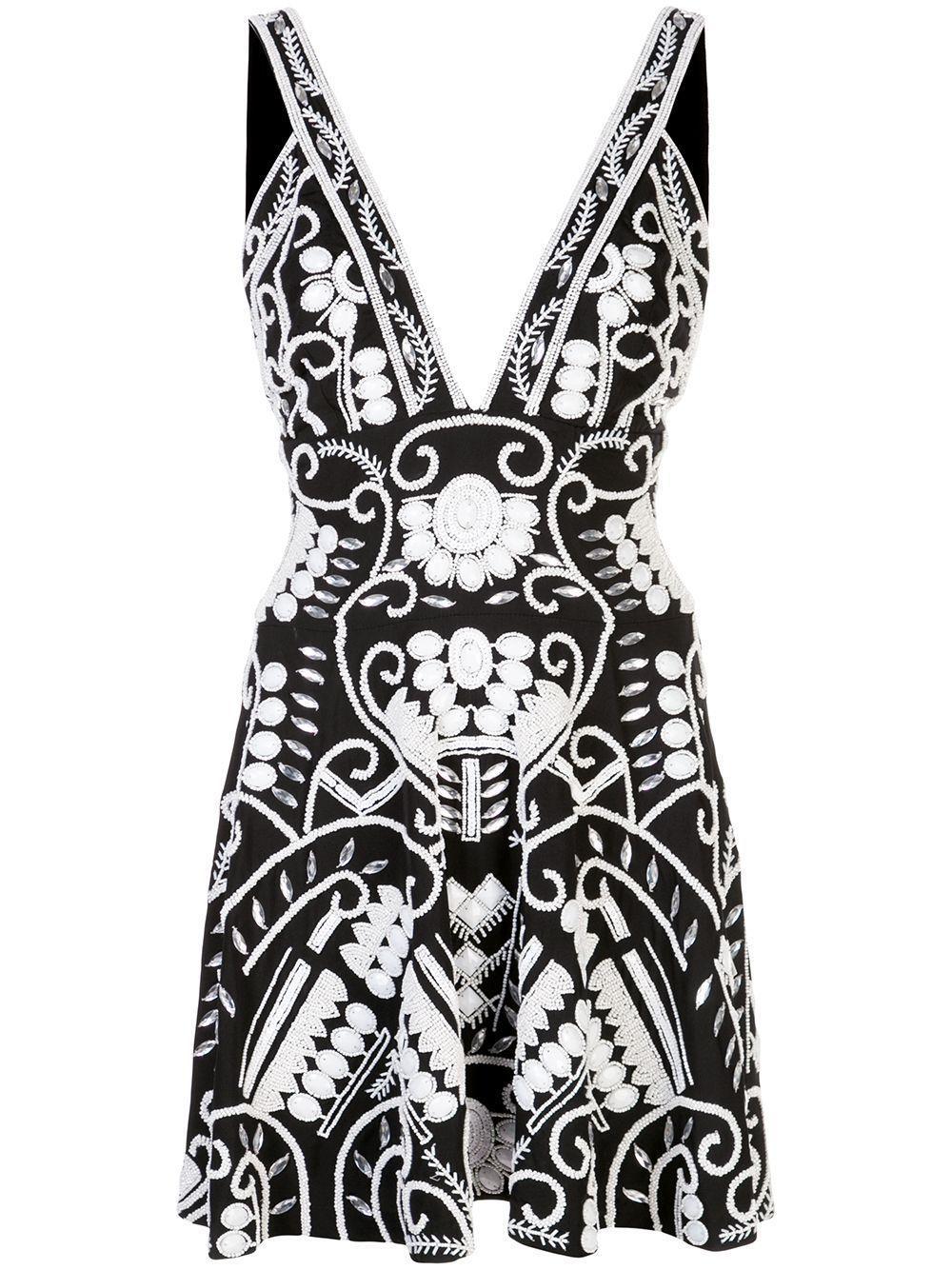Jerza Sleeveless V Neck Embroidered Dress Item # A1200324-6116