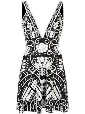 Jerza Sleeveless V Neck Embroidered Dress