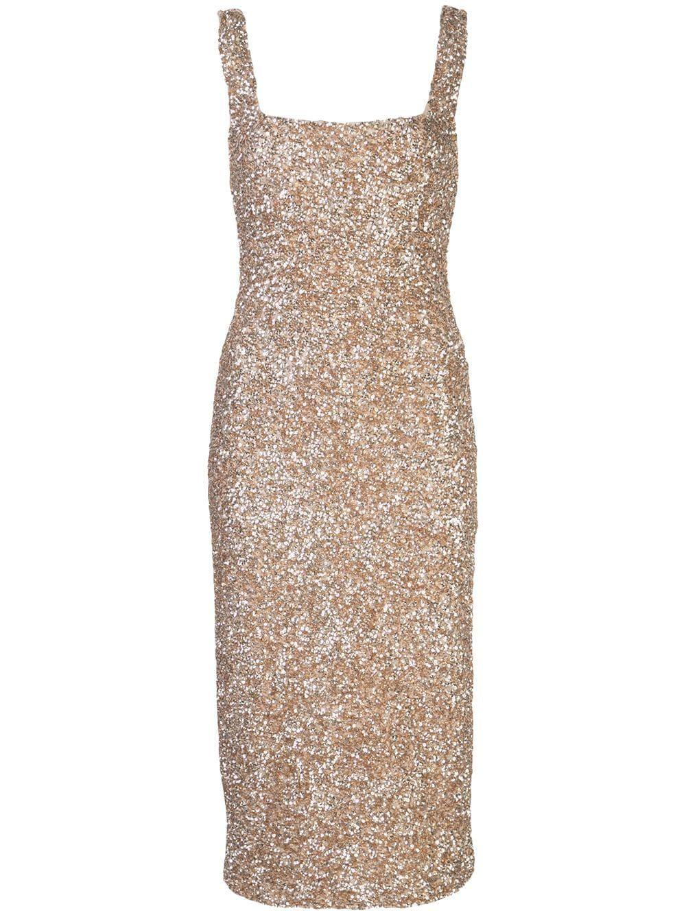 Helen Sequin Fitted Square Neck Dress