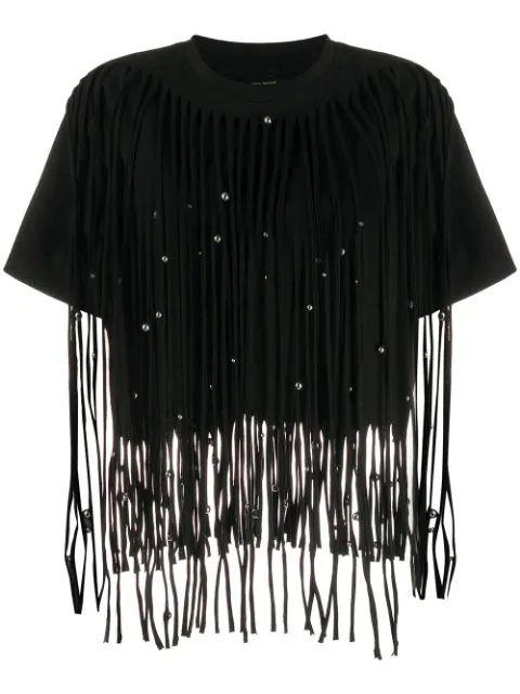 Short Sleeve Evening T-Shirt With Fringe