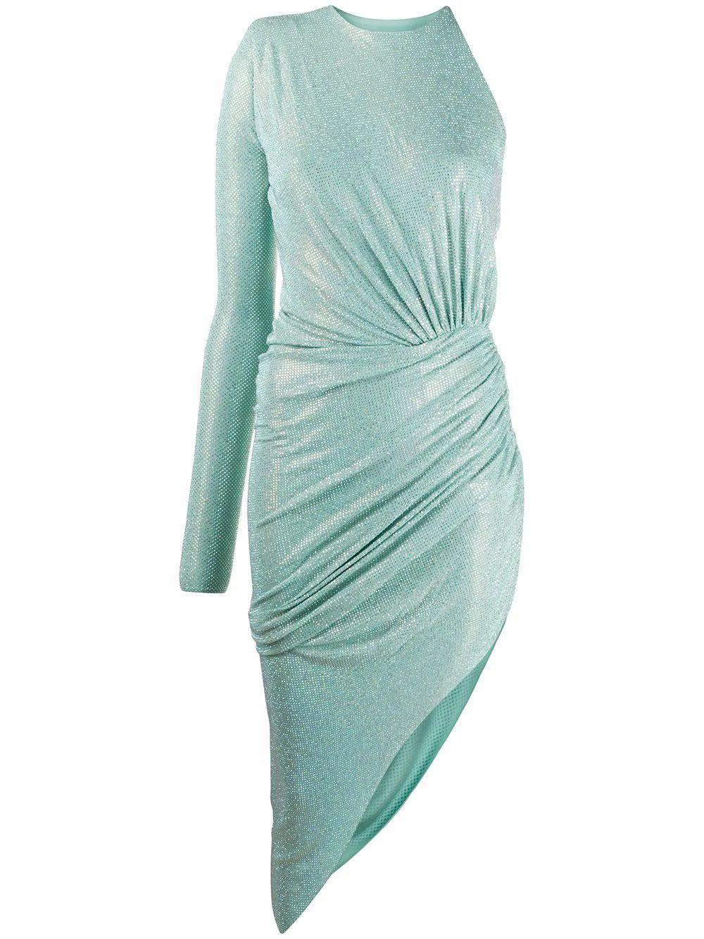 Microcrystal One Sleeve Short Dress Item # 202DR1271B
