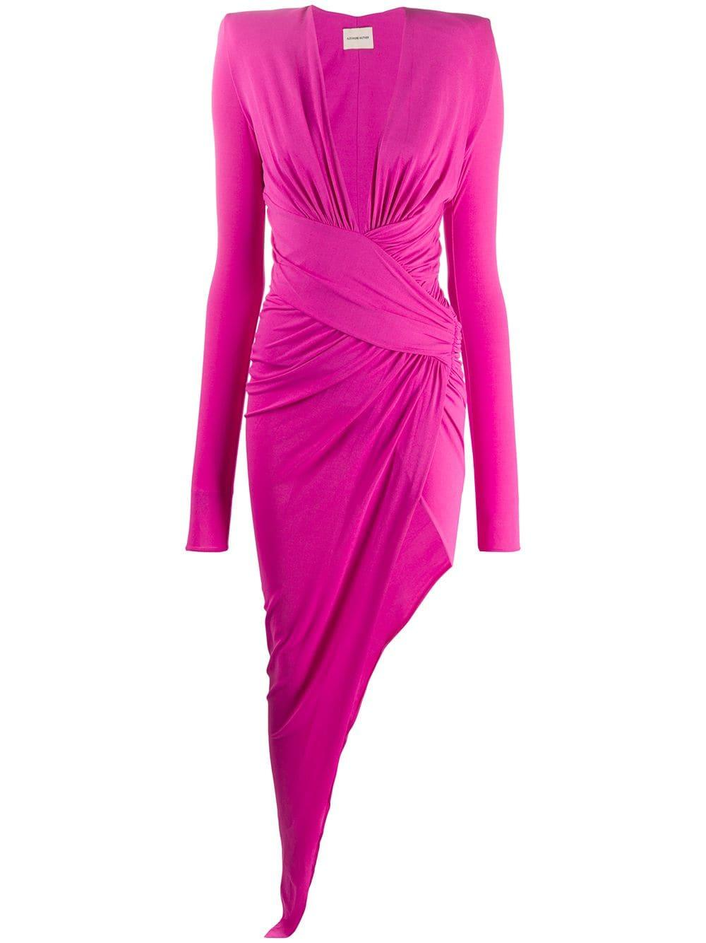 Long Sleeve Deep V Stretch Jersey Gown