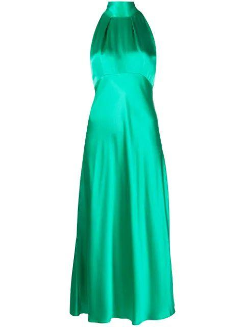 Michelle Halter Satin Midi Dress Item # 10316