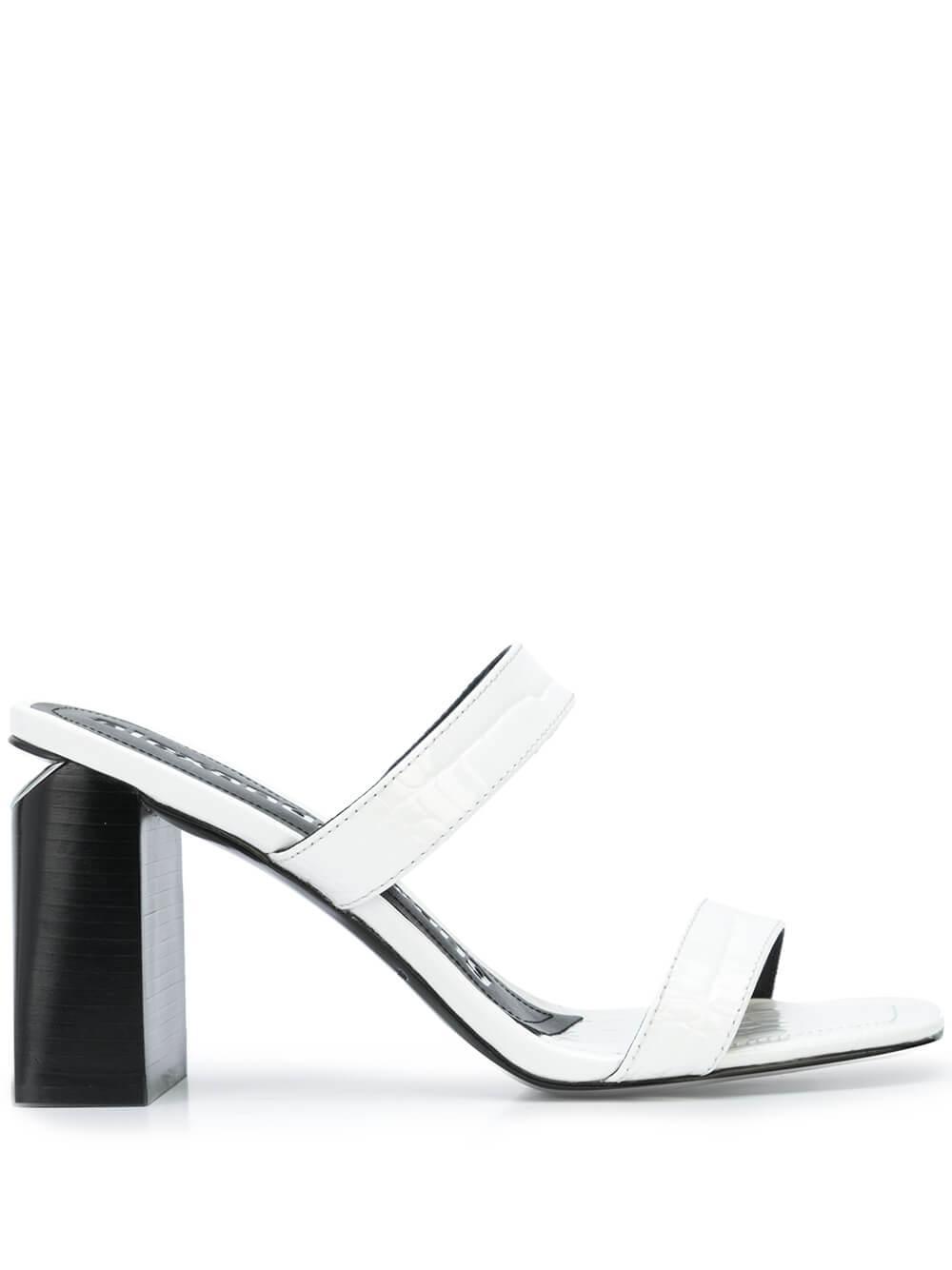 Hayden Croc Embossed Block Heel Sandal