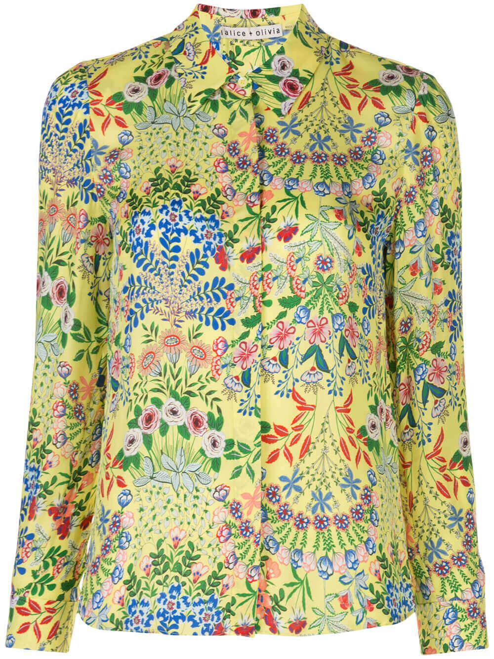 Willa Print Long Sleeve Button Placket Top