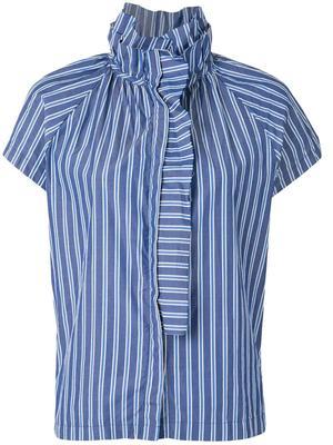 Stella Stripe Cap Sleeve Ruffle Neck Top