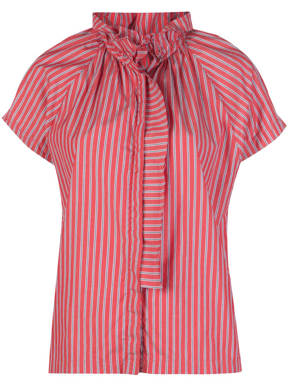 Stella Stripe Cap Sleeve Ruffle Neck Top