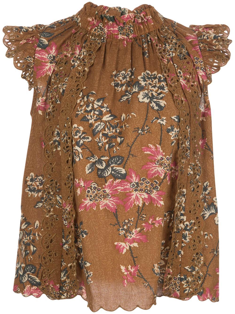 Thea Floral Eyelet Flutter Sleeve Top Item # SS20-112