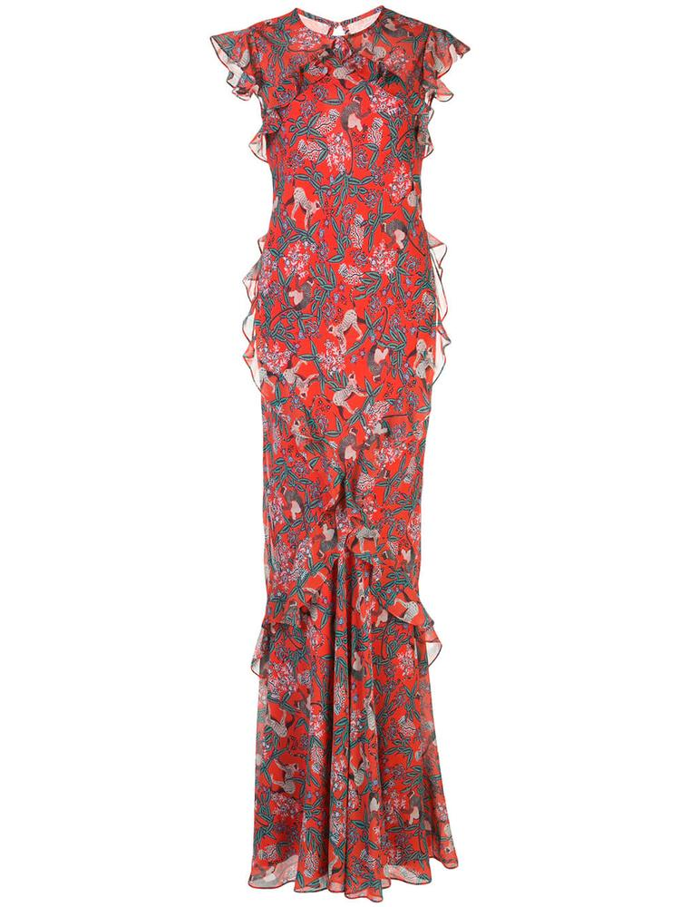 Tamara Jungle Monkey Print Maxi Dress Item # 10259