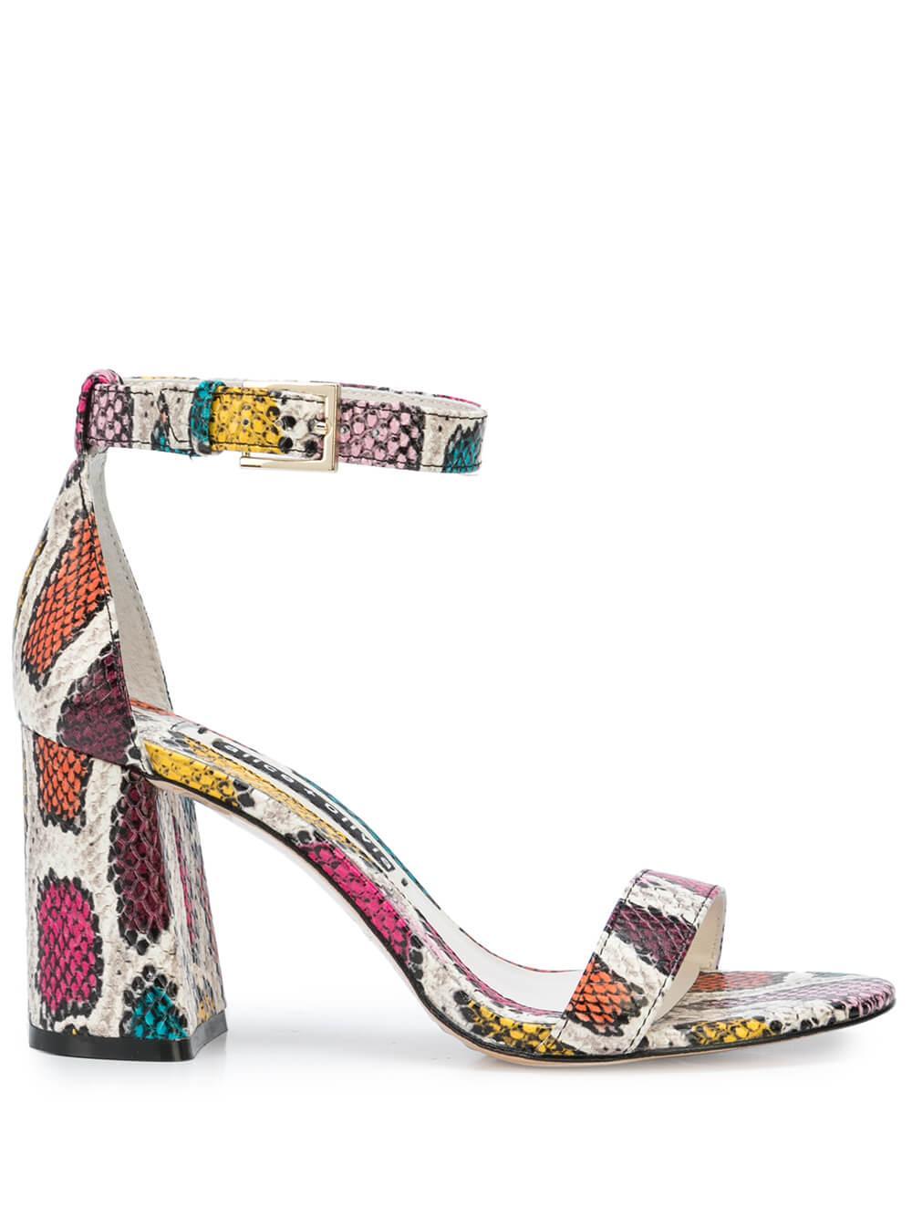 Snake Print Block Heel Sandal