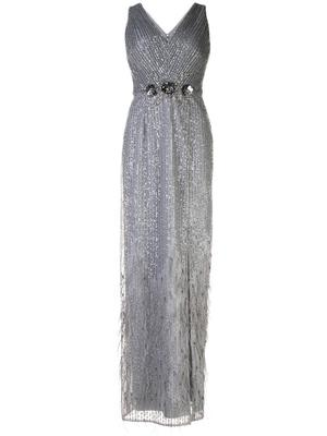 Feather Hem Gown