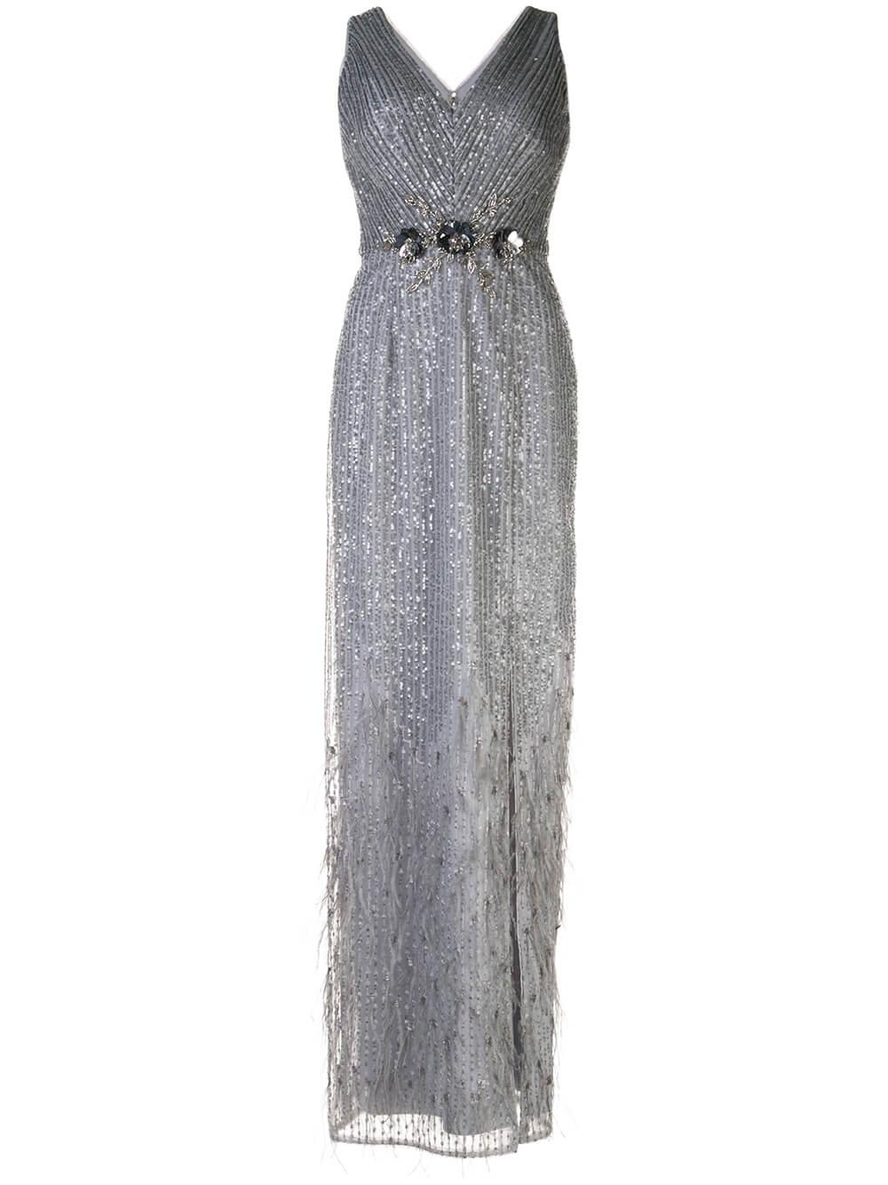 Silver Grey Feather Hem Gown