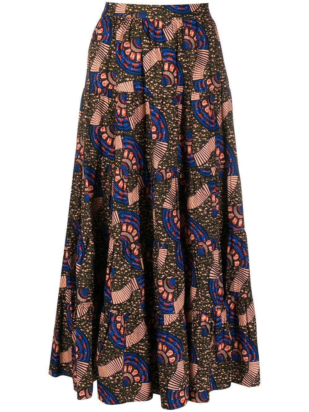 Sylvie Tiered Printed Skirt Item # SP200312