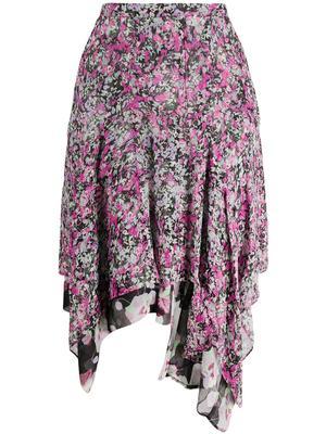 Blooming Print Silk Skirt