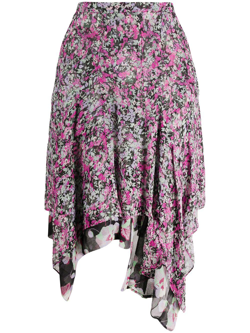 Blooming Print Silk Skirt