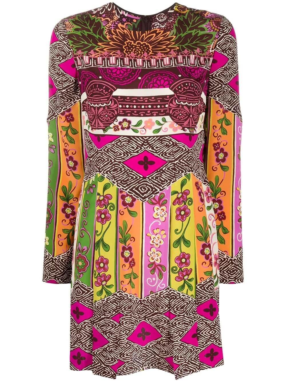 Long Sleeve Floral Printed Dress