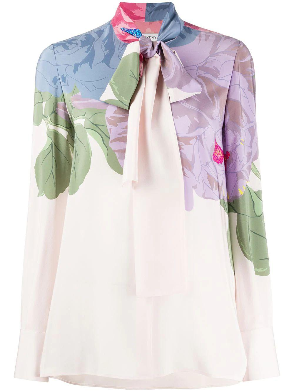 Floral Blouse With Neck Tie Item # TB3AB16G54W-C